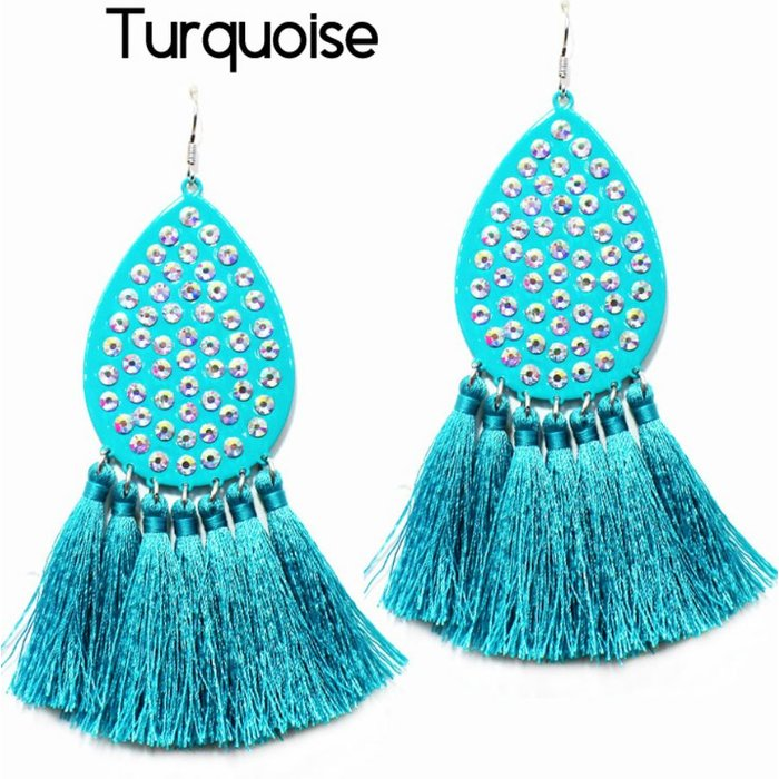Turquoise Teardrop AB Tassel Earrings