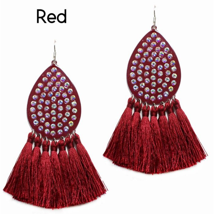 Red Teardrop AB Tassel Earrings