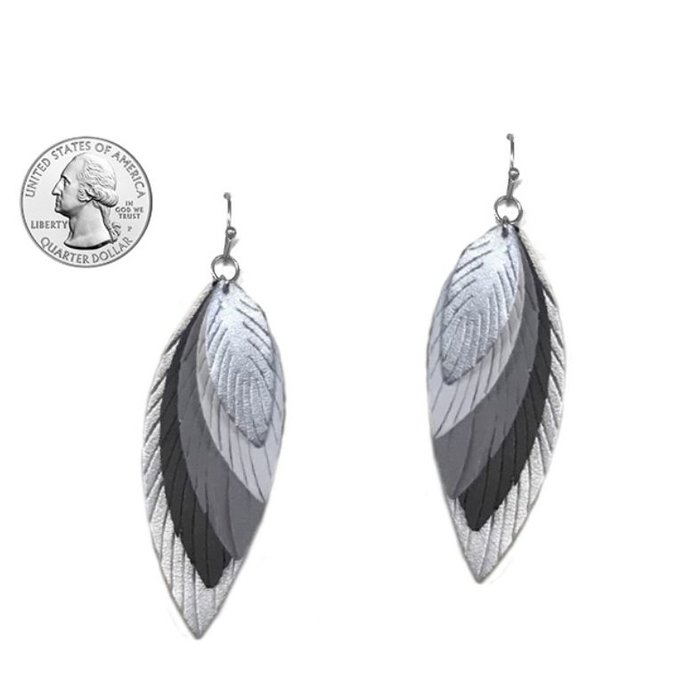 5 Layer Silver Feather Leather Earrings