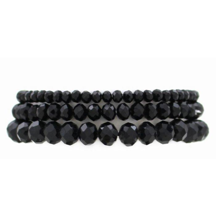 Black 3-Piece Stretch Bracelet Set