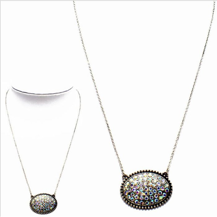 Silver AB Oval Crystal Pendant Necklace Set
