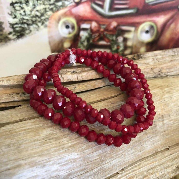 Dark Red 3-Piece Stretch Bracelet Set