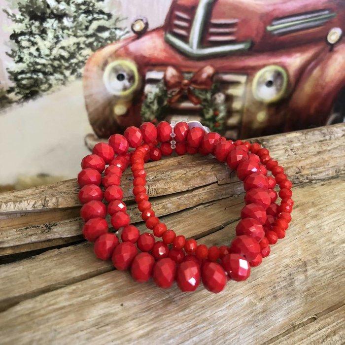 Red 3-Piece Stretch Bracelet Set