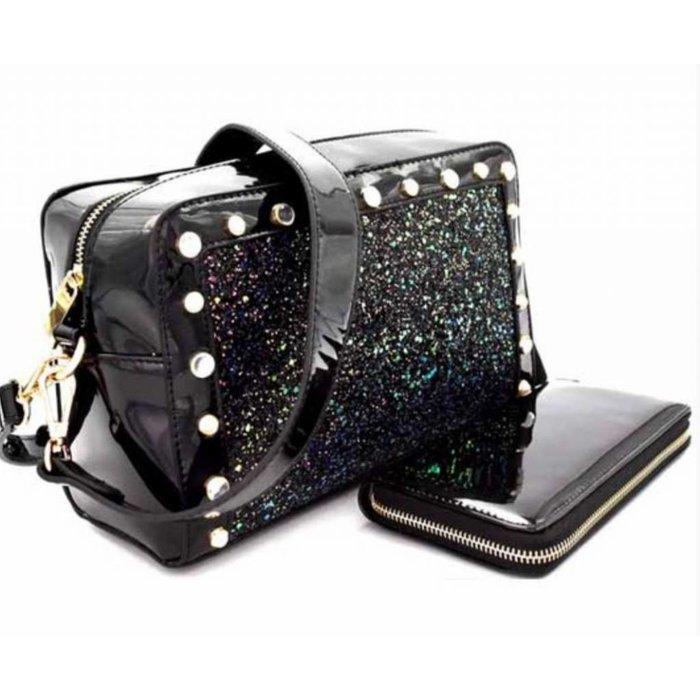 Black Glitter Handbag w/Wallet