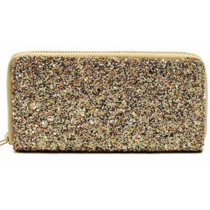 Yellow Gold Glitter One Zip Wallet
