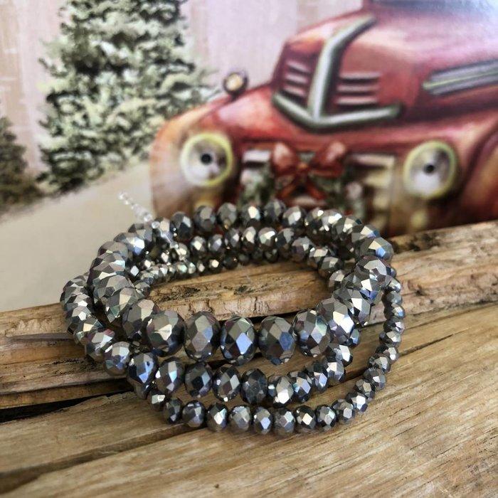 Silver 3-Piece Stretch Bracelet Set