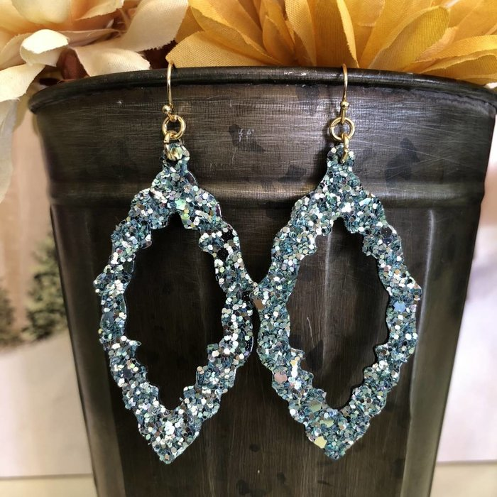 Turquoise Sequin Leather Open Damask Earrings