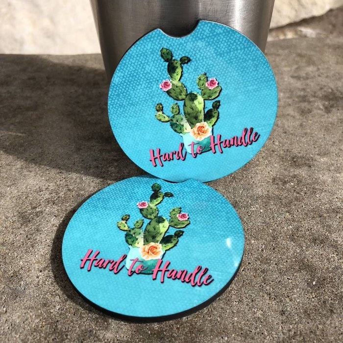 Hard to Handle Cactus Car Coasters  - Set of 2