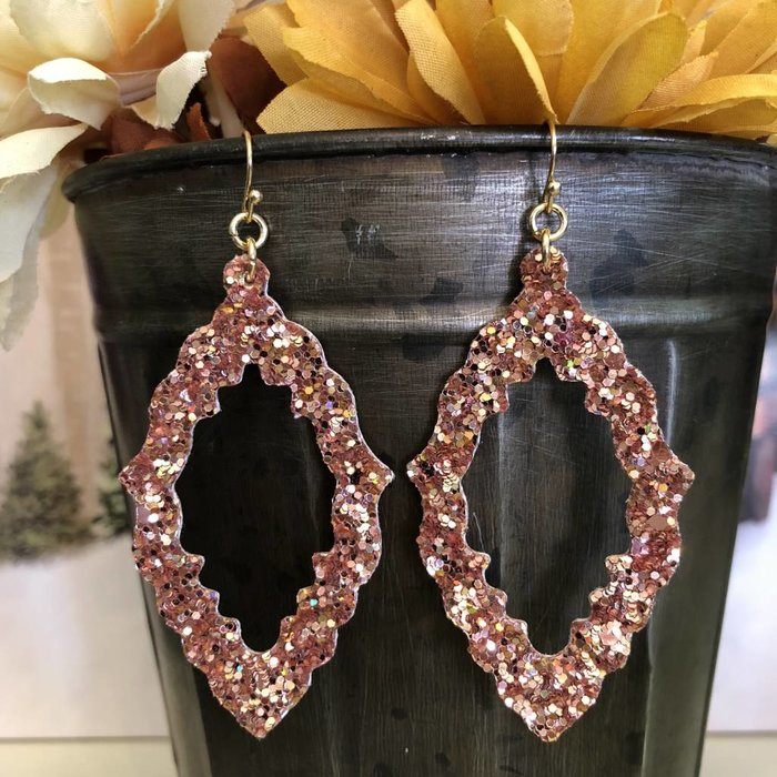 Rose Gold Sequin Leather Open Damask Earrings