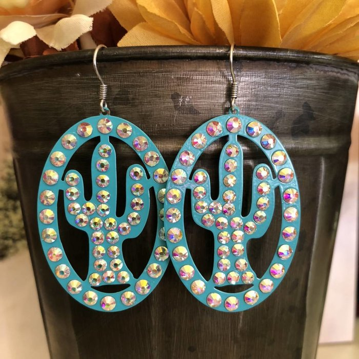 Turquoise AB Oval Laser Cut Cactus Earrings