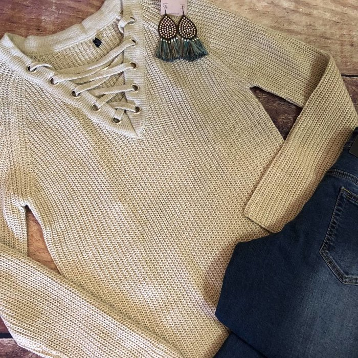 Taupe Lace Up Front Sweater
