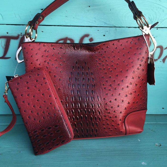 Red Faux Ostrich Handbag w/Wallet
