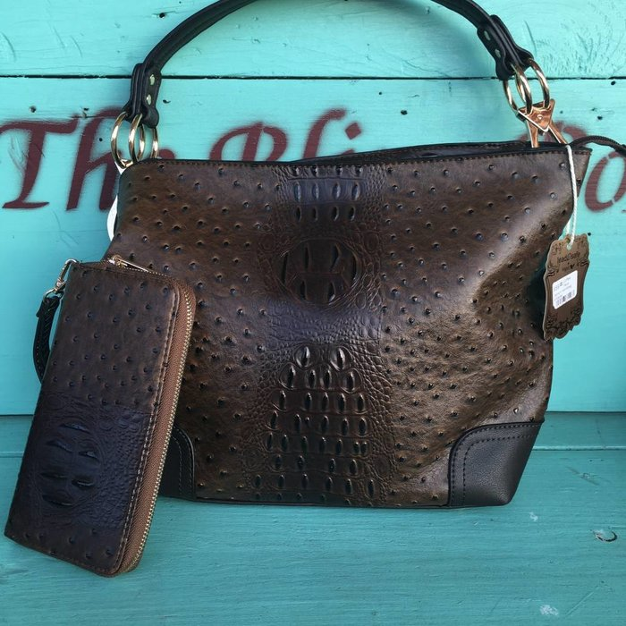 Coffee Faux Ostrich Handbag w/Wallet