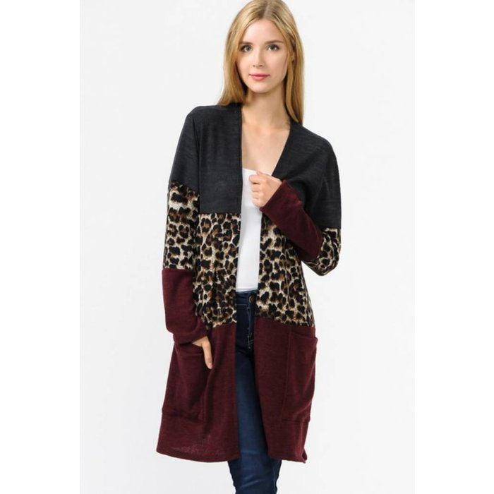 Color Blocked Leopard Cardigan with Pocket