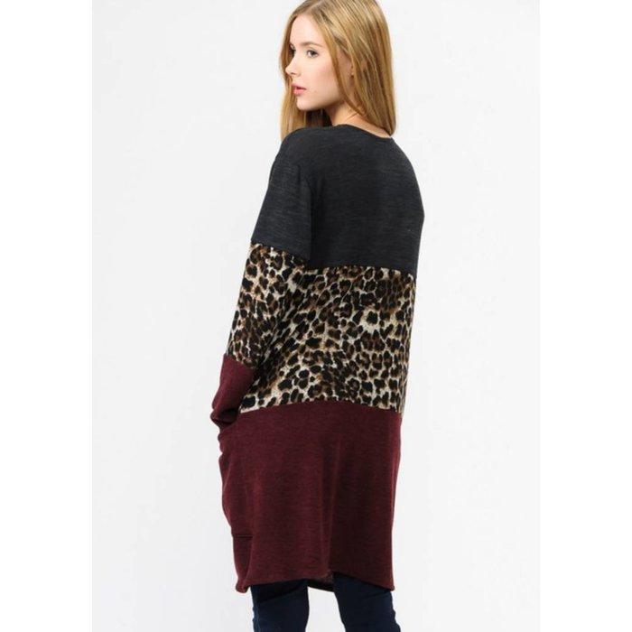 Color Blocked Leopard Cardigan with Pocket