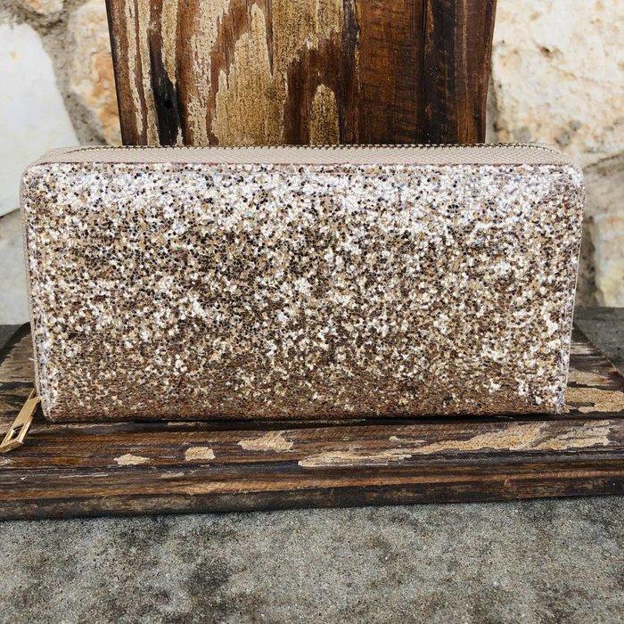 Matte Gold Glitter One Zip Wallet
