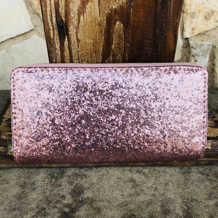 Pink Glitter One Zip Wallet