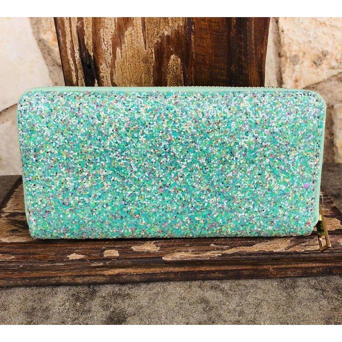 Mint Glitter One Zip Wallet