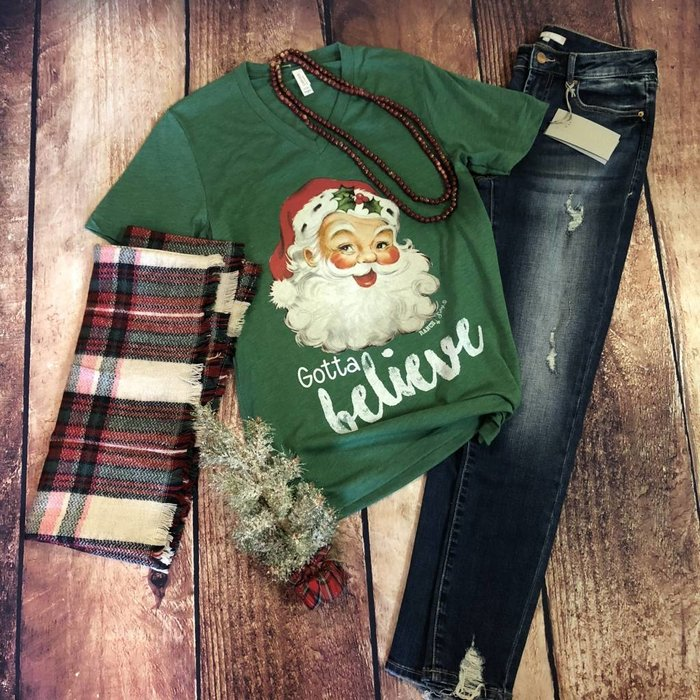 Gotta Believe Santa V-Neck T-Shirt