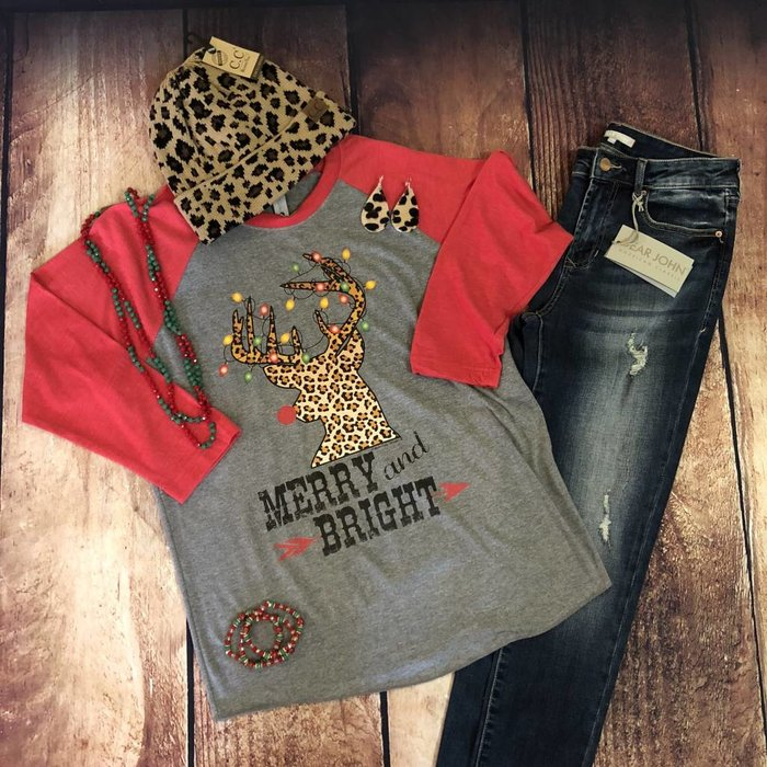 Merry & Bright Leopard Deer Raglan