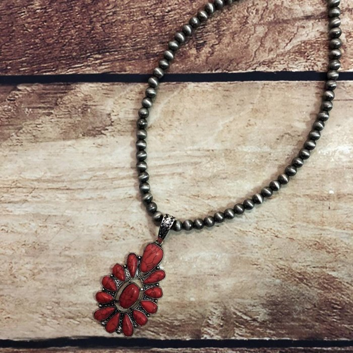 Red Stone Medallion Silver Navajo Pearl Necklace