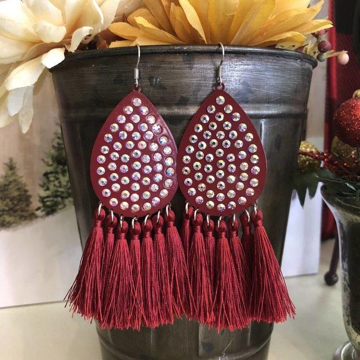 Red Teardrop AB Tassel Earrings