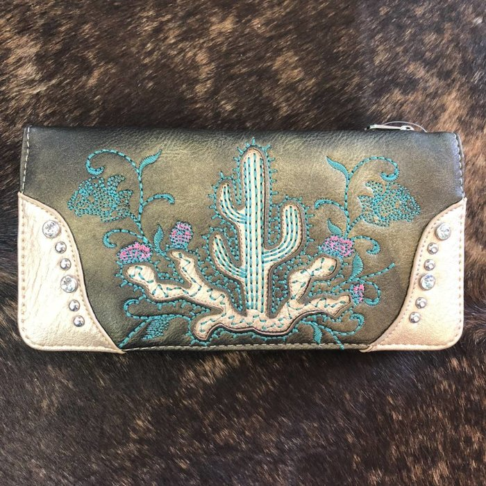 Bronze Embroidered Floral Cactus Wallet