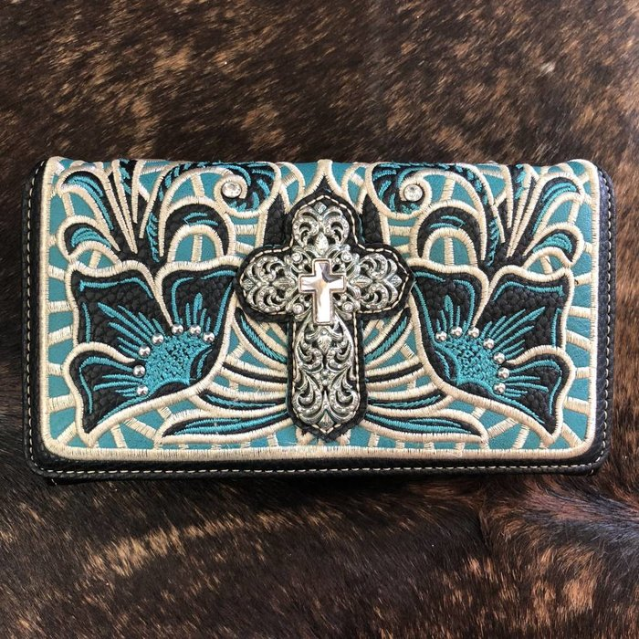 Embroidered Turquoise Crystal Cross Wallet