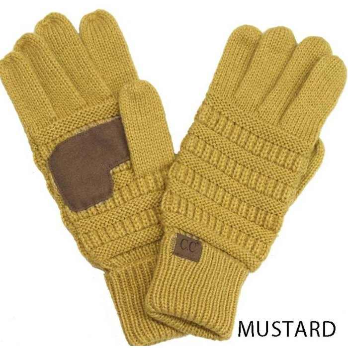 C.C. Mustard Sweater SmartTips Gloves - ONE SIZE