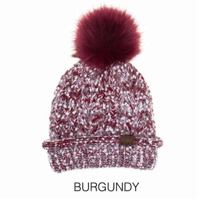 C.C. Burgundy Knitted Winter Beanie w/Pompom