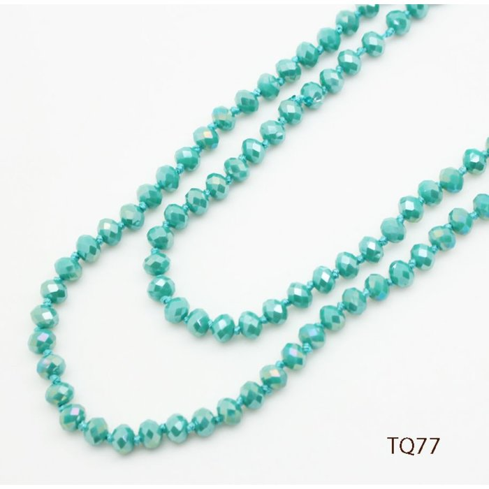 "Turquoise AB 60"" Crystal Beaded Necklace"