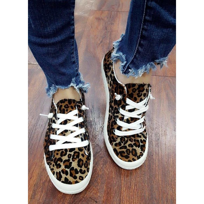 Lace Up Leopard Slip On Tennis Shoes