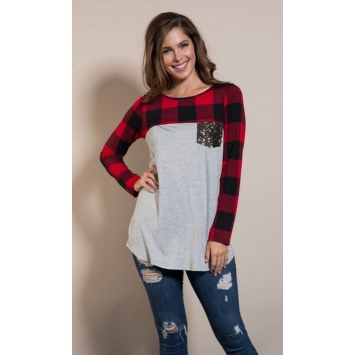 PLUS Red Buffalo Plaid Sequin Pocket Top