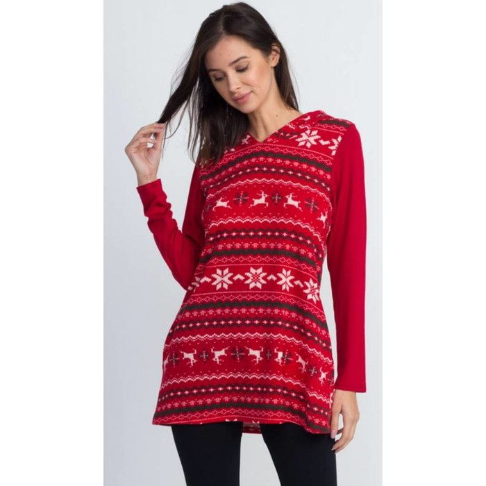 Red Christmas Print Hooded Top w/Pockets