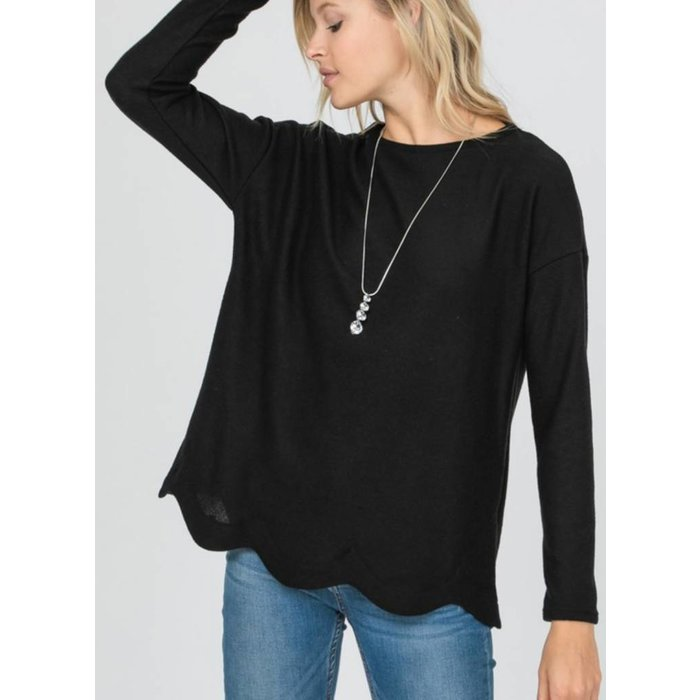 Black Wave Cut Bottom Knit Top