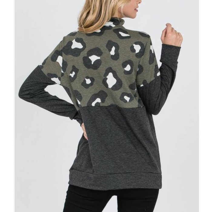 Army Olive Leopard Print Pullover