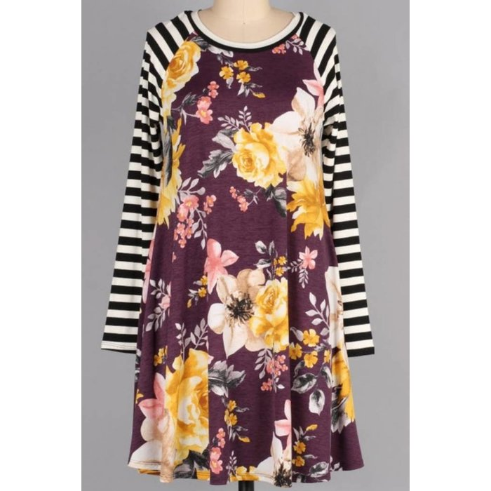 Striped Plum Floral Print Dress w/Pockets