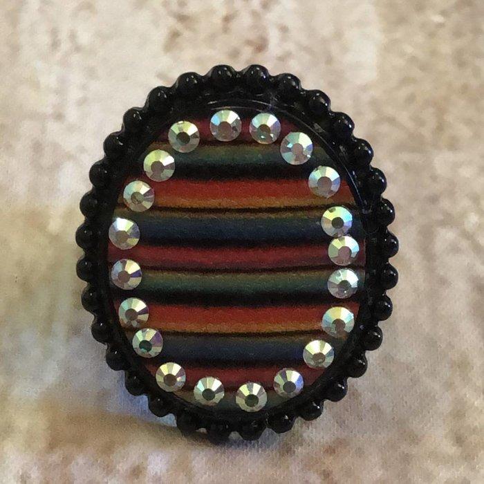 Black Serape AB Rhinestone Ring