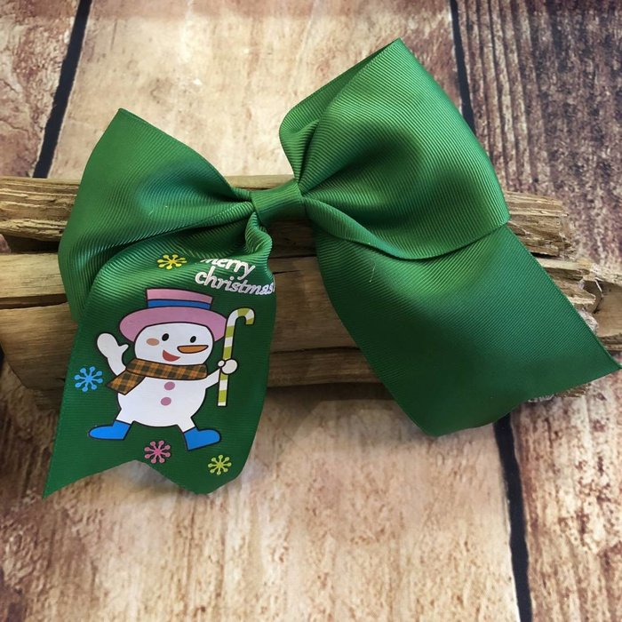 Green Snowman Bow
