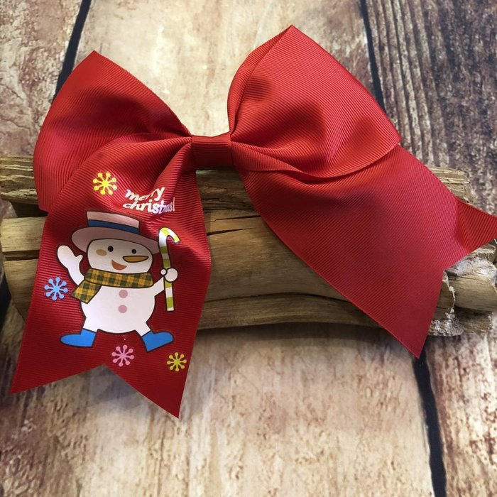 Red Snowman Bow