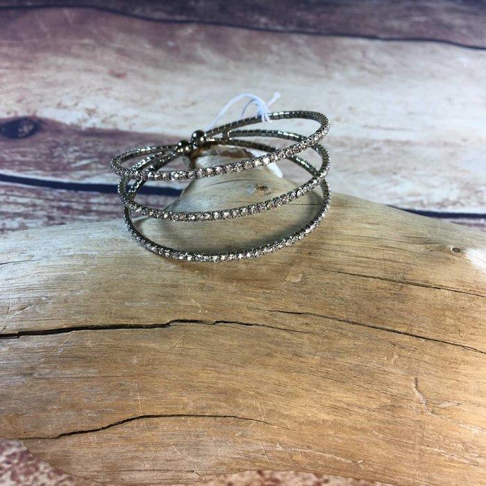 3- Strand Hematite Rhinestone Bracelet