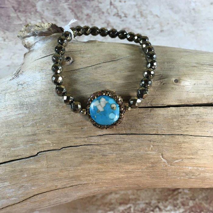 Bronze Stretch Bracelet Pave Turquoise Stone