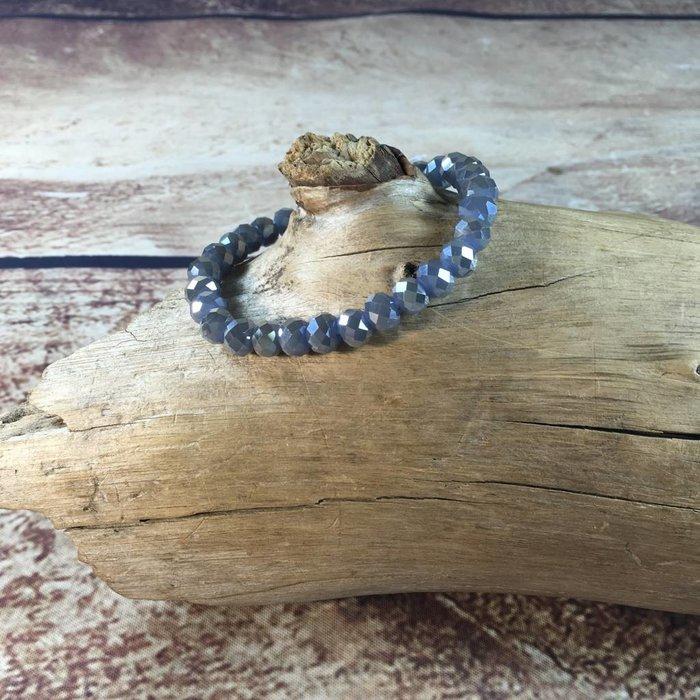Smokey Grey Crystal Beaded Stretch Bracelet