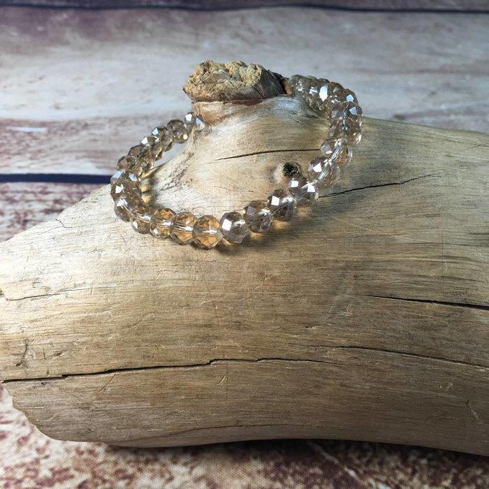 Clear Champagne Crystal Beaded Stretch Bracelet