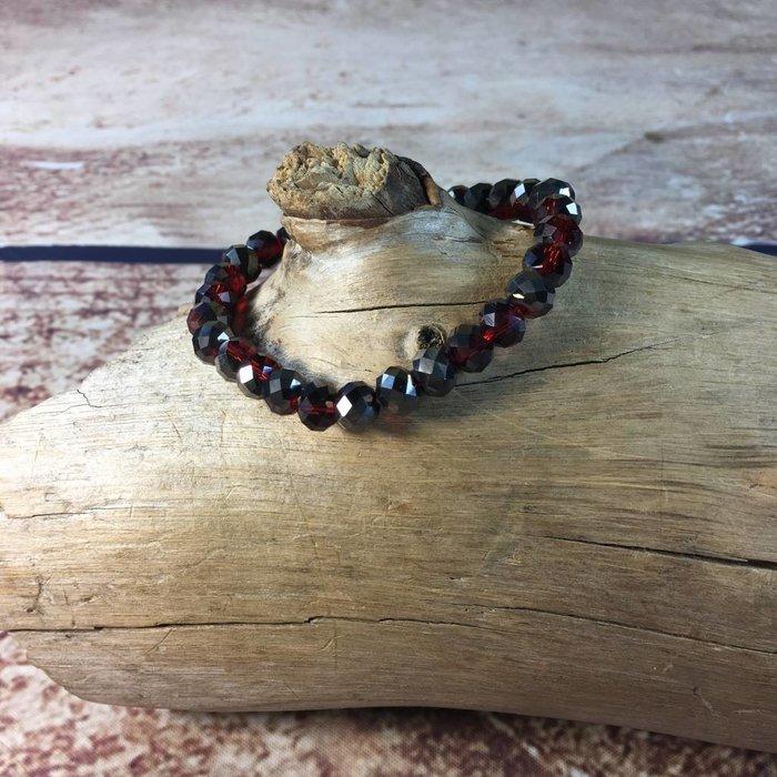 Siam AB Crystal Beaded Stretch Bracelet