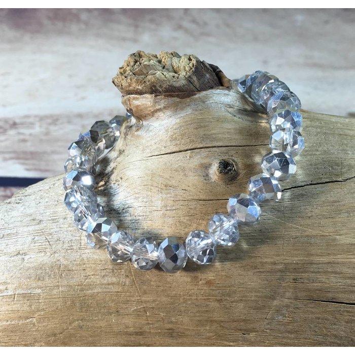 Silver Crystal Beaded Stretch Bracelet