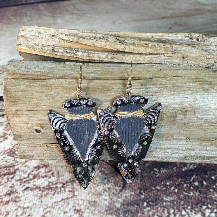 Black Leather Rhinestone Arrowhead Earrings