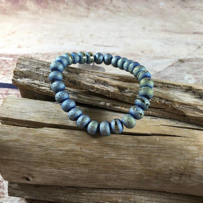 Aqua Green Bead Stretch Bracelet