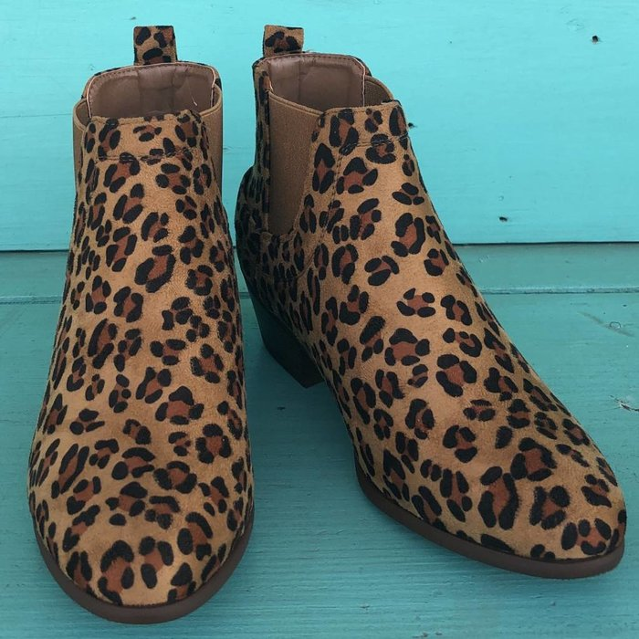 Leopard Print Bootie with Side Buckle