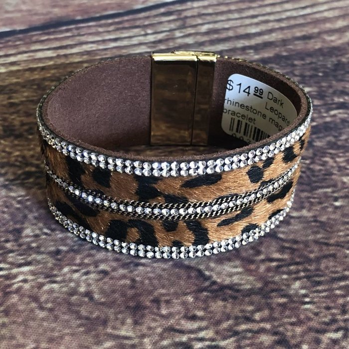 Wide Brown Leopard Clear Rhinestone Magnetic Bracelet